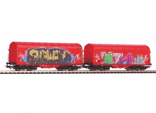 Piko 58362  2 Piece Set  Sliding tarp wagon, DB AG