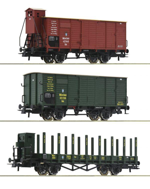 Roco 76094  3 piece set: Goods wagons, K.Bay.Sts.B.