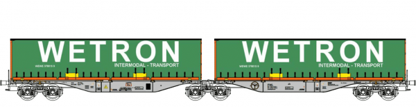 """B-Models 55105  Container Cars Sggmrss 90 """"WETRON"""""""
