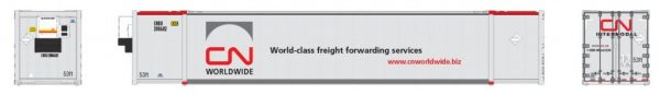 Rapido Trains 402004  CN Worldwide (CNRU) 53′ high-cube container (2-pack)