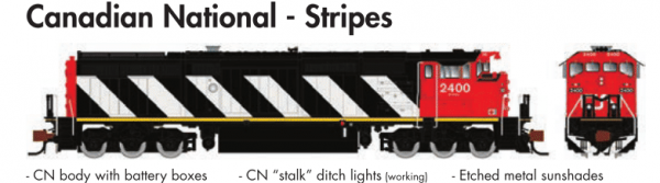 Rapido Trains GE Dash 8-40CM Canadian National - Stripes