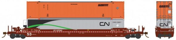 Rapido Trains  Canadian Pacific (CP) 53′ Husky-Stack Well Car