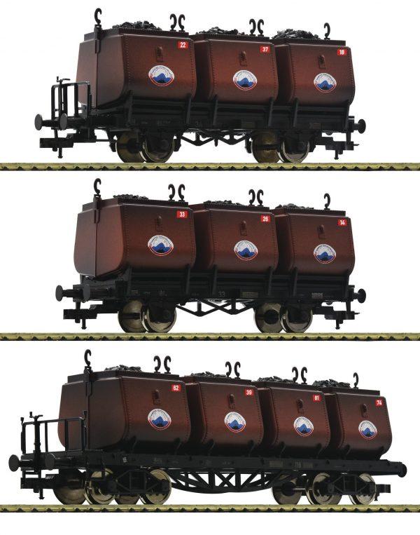 Fleischmann 526505  3 pc. set dipping bucket wagons for the transportation of coal, Niederschlesisches Steinkohlen-Syndika