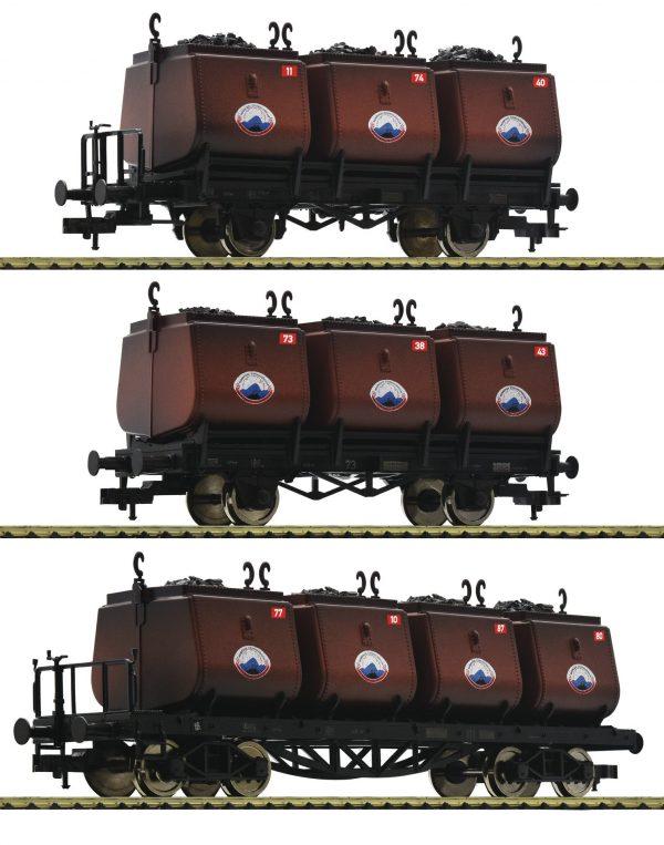 Fleischmann 526506  3 pc. set dipping bucket wagons for the transportation of coal, Niederschlesisches Steinkohlen-Syndika