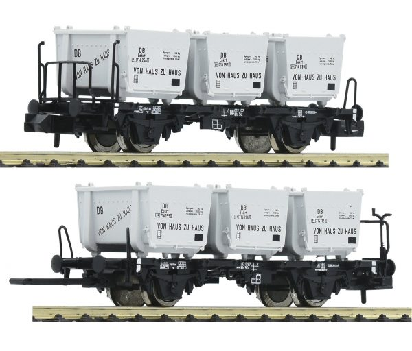 """Fleischmann 823303  2 piece set container carrier wagons """"Von Haus zu Haus"""", DB"""