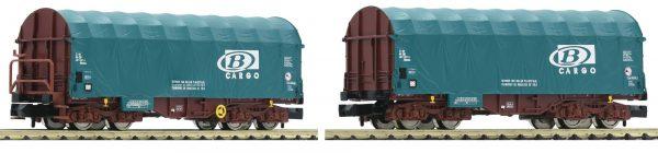Fleischmann 837929  2-piece set sliding tarpaulin wagons type Shimmns, SNCB-Cargo