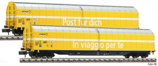 "Fleischmann 838312  2 piece set high capacity sliding wall wagons ""Post"", SBB"