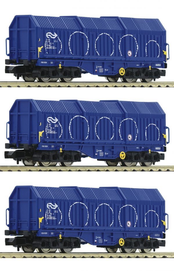 Fleischmann 838825  3 piece set telescopic hood wagons type Shimmns, NS