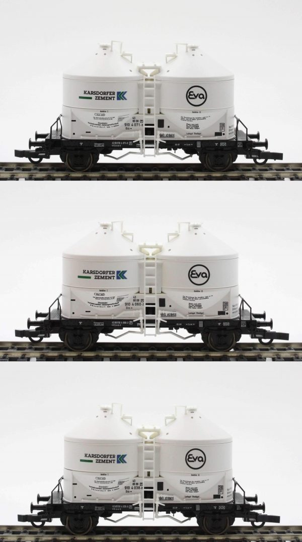 "Roco 44055  3 piece set: Silo Cars ""EVA Karsdorfer Zement"" , DB"