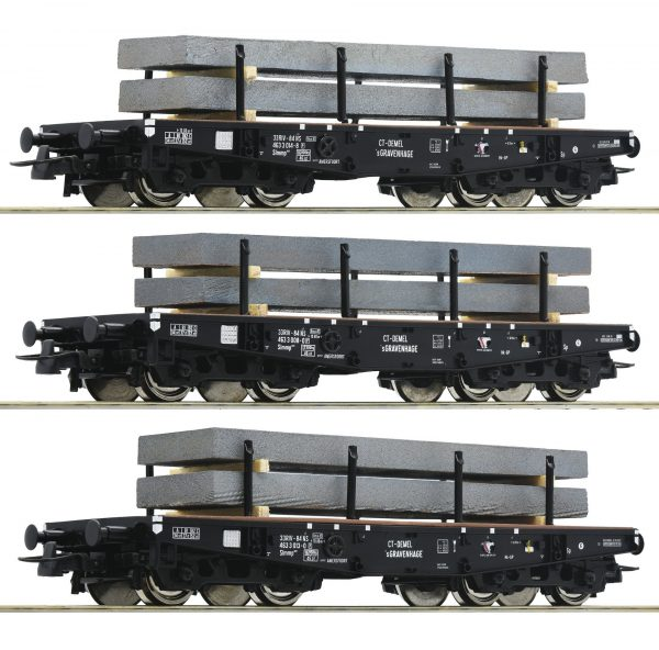 Roco 67194  3 piece set: Heavy duty flat wagons, NS
