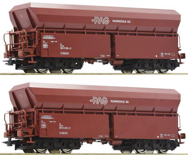 "Roco 76058  2 piece set #1: Self unloading hopper wagons, ""RAG"""
