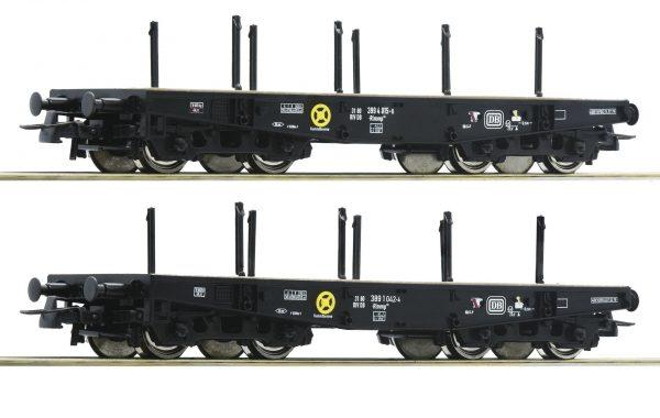 Roco 76080  2 piece set: Heavy duty flat wagons, DB