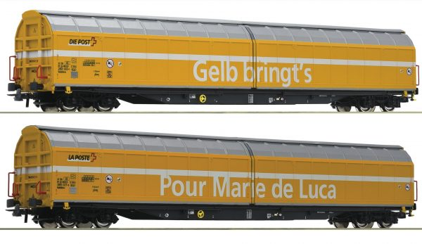 "Roco 76087  2 piece set: Sliding wall wagons ""Post"", SBB"