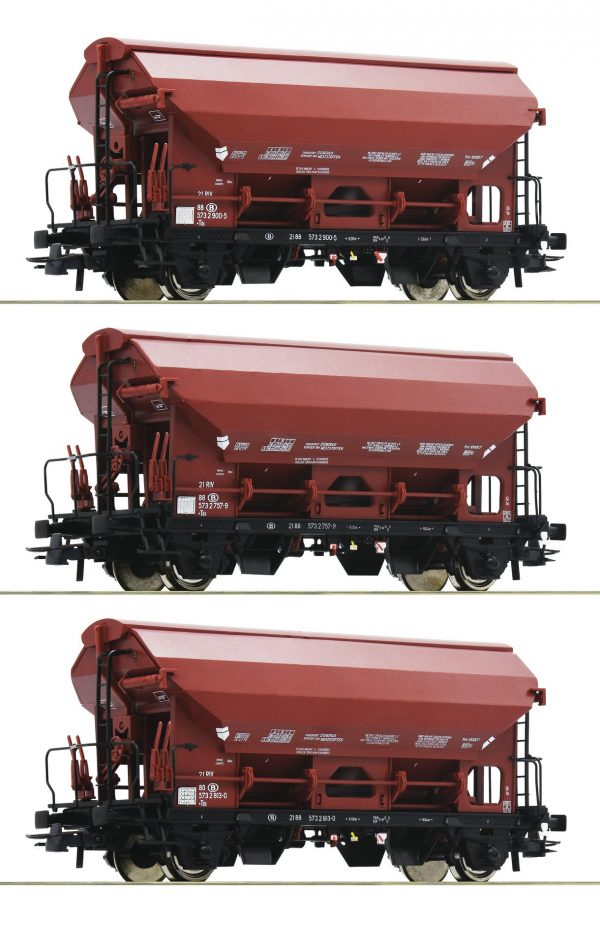 Roco 76179  3 piece set: Swing roof wagons, SNCB