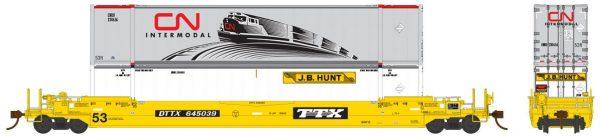 Rapido Trains 401007    53′ Husky-Stack Well Car DTTX TTX Co.
