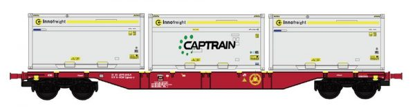 """B-Models 90801.1  Innofreight Container Wagon A-RCW Sgns """"CAPTRAIN"""""""
