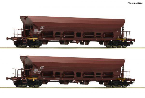 Roco 67088   2 piece set self unloading hopper wagons, DR
