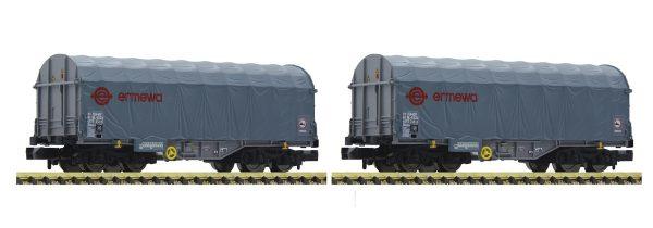 Fleischmann 837927  2 piece set slide tarpaulin wagons, ERMEWA