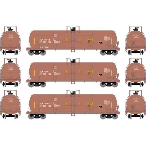 Athearn 15933  RTC 20,900-Gal Acid Tank, TILX / Red-Brown (3 pack)