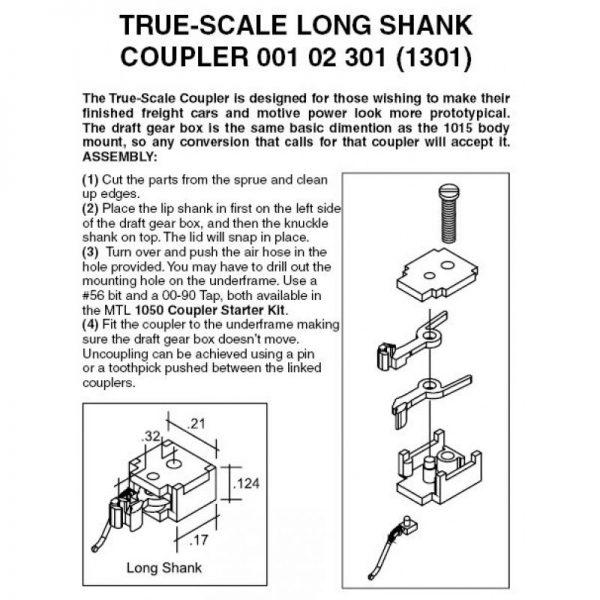 Micro Trains 102301  N True Scale Long Shank Coupler (2 pr)