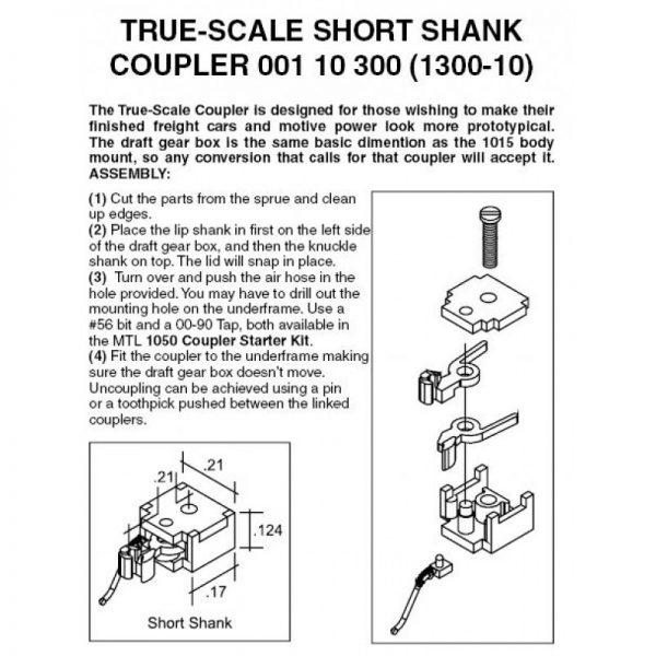 Micro Trains 110300   N True Scale Short Shank Coupler (10 Pair)