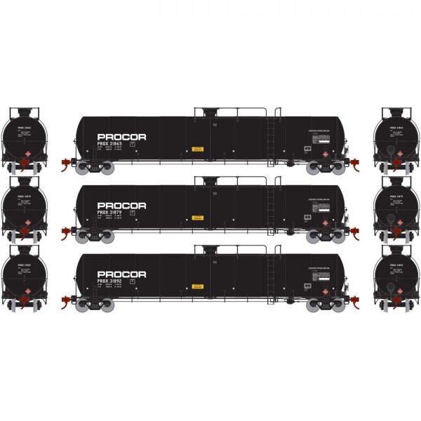 Athearn Genesis 25625  33,900 Gallon LPG Tank, Procor (3 pack)