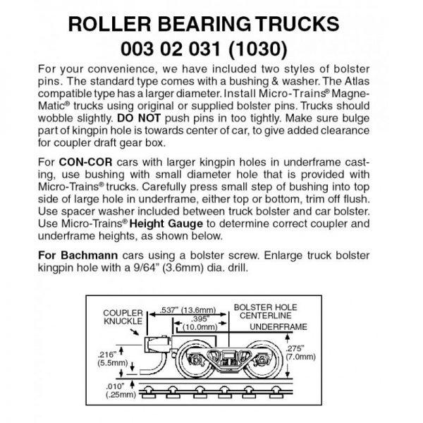 Micro Trains 00302031 (1030)   N Roller Bearing Trucks w/ short ext. couplers (1 pr)