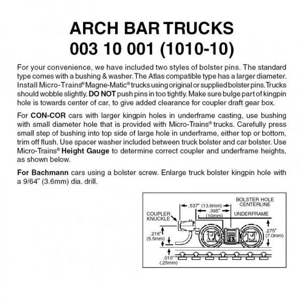Micro Trains 00310001   N Arch Bar Trucks w/ short ext. couplers (10 pr)
