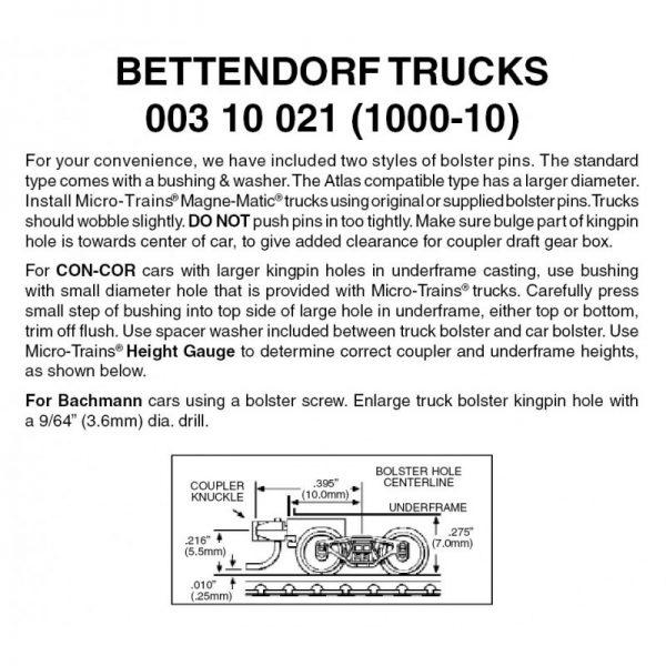Micro Trains 00310021 (1000-10)   N Bettendorf Trucks w/ short ext. couplers (10 pr)