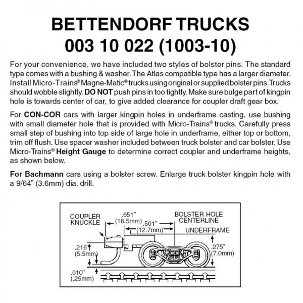 Micro Trains 00310022 (1003-10)   N Bettendorf trucks w/medium ext couplers (10 pr)