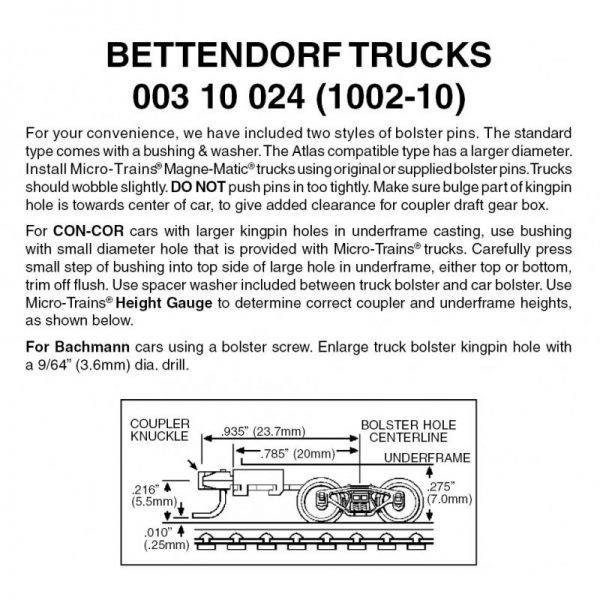 Micro Trains 00310024 (1002-10)   N Bettendorf trucks with long ext. couplers (10 pr)