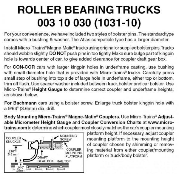 Micro Trains 00310030 (1031-10)   N Roller Bearing Trucks w/o couplers (10 pr)