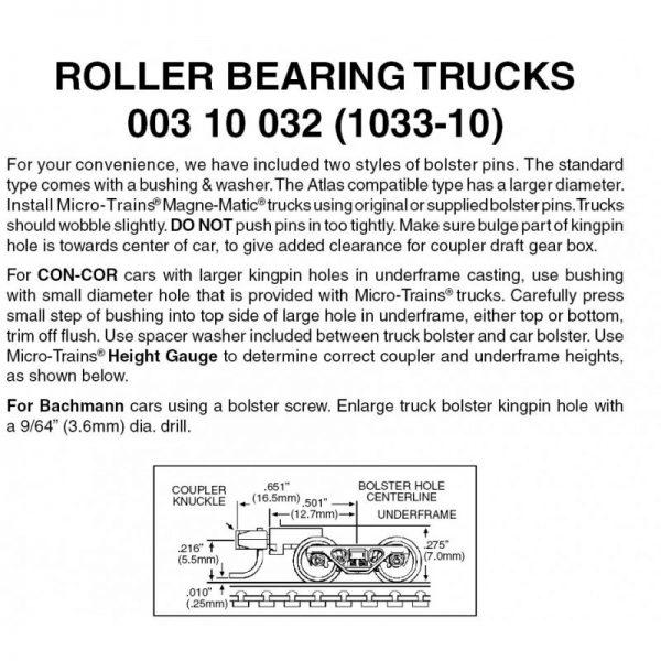 Micro Trains 00310032   N Roller Bearing w/med extn couplers (10 pr)