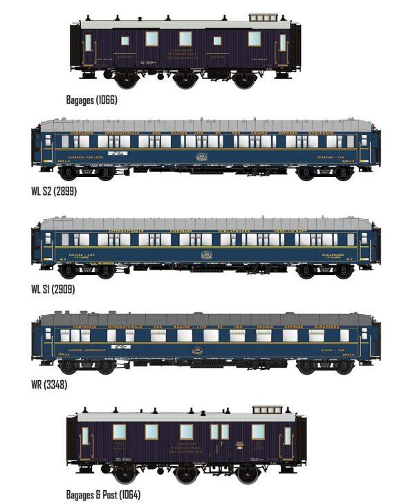 "LS Models 99004  Set of 5 passenger cars ""Train Bleu"", CIWL"