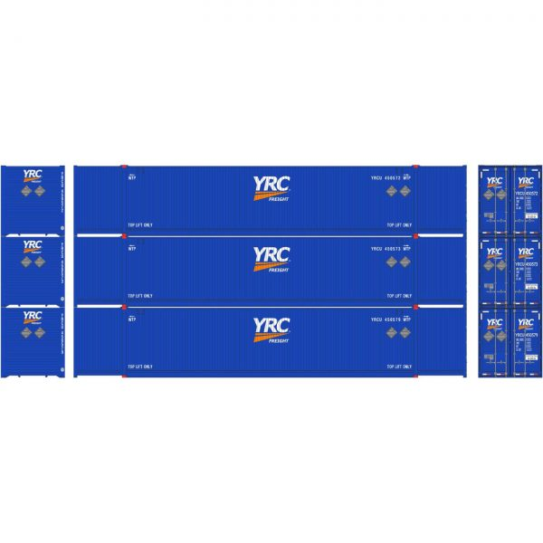 Athearn 26633  53' CIMC Containers, YRC (3 Pack)