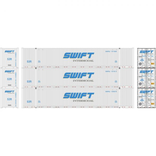Athearn 26676  53' Jindo Containers, SWRU (3 Pack)