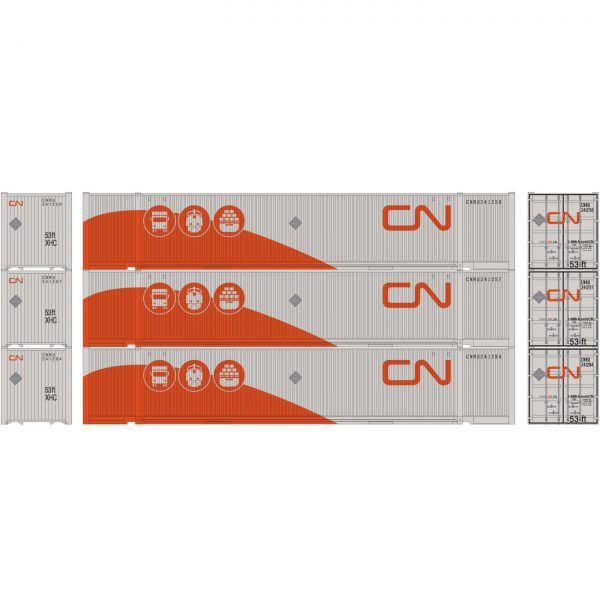 Athearn 26678  53' Jindo Containers, CNRU (3 Pack)