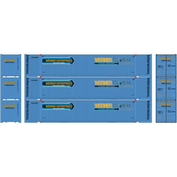 Athearn 26680  53' Jindo Containers, WERU (3 Pack)