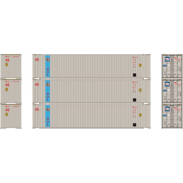 Athearn 27032  45' Container, MOL (3 Pack)