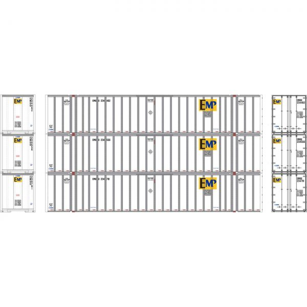 Athearn 72770  53' Stoughton Container, EMHU (3 Pack)