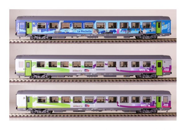"LS Models 41201  Three-piece express ""La Rochelle"" train passenger car set, SNCF"