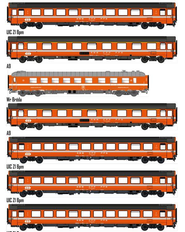 LS Models MW1908  7-piece passenger car set, SBB
