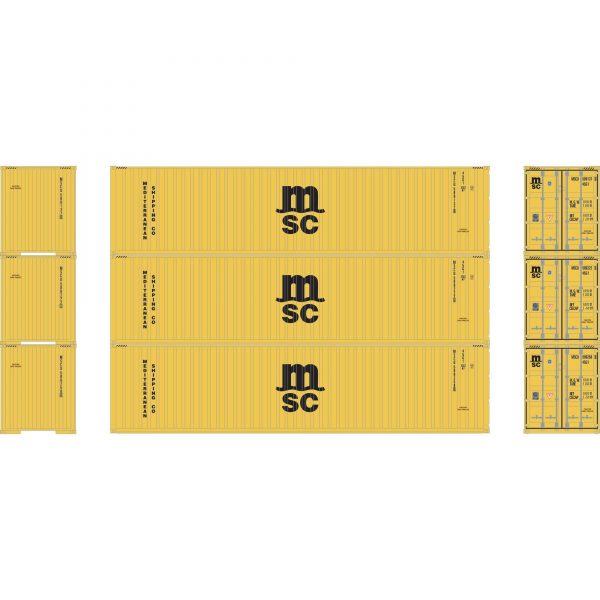 Athearn 17442  40' Corrugated HC Container, MSC  (3 Pack)