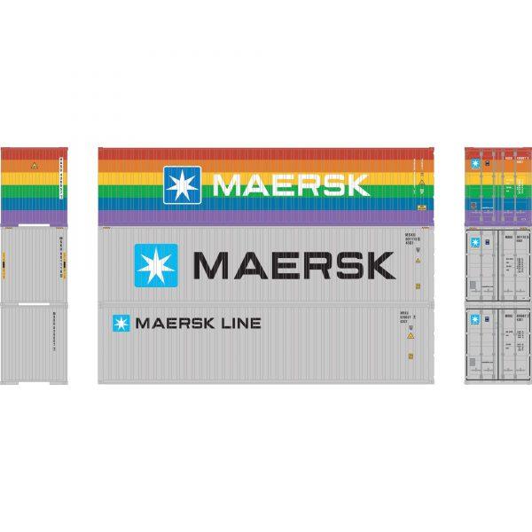 Athearn 17446  40' Corrugated HC Container, HASU/MSKU/MRKU  (3 Pack)