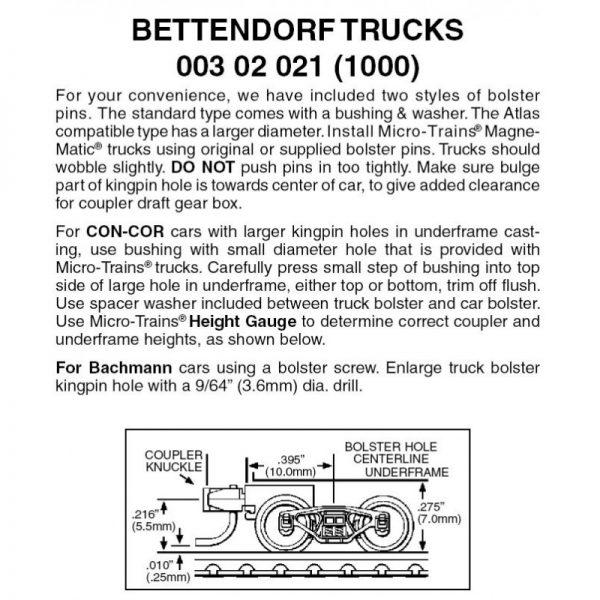 Micro Trains 00302021 (1000)   N Bettendorf trucks w/short ext. couplers. 1 pr