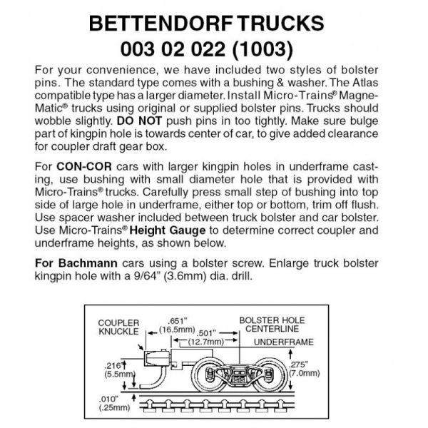 Micro Trains 00302022 (1003)   N Bettendorf trucks w/medium ext. couplers. 1 pr