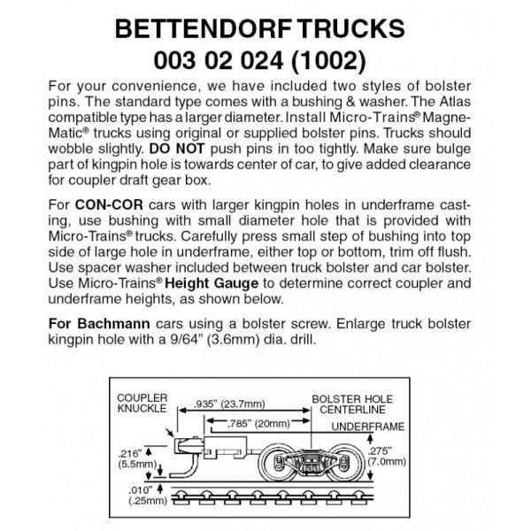 Micro Trains 00302024 (1002)   N Bettendorf trucks with long ext. couplers (1 pr)