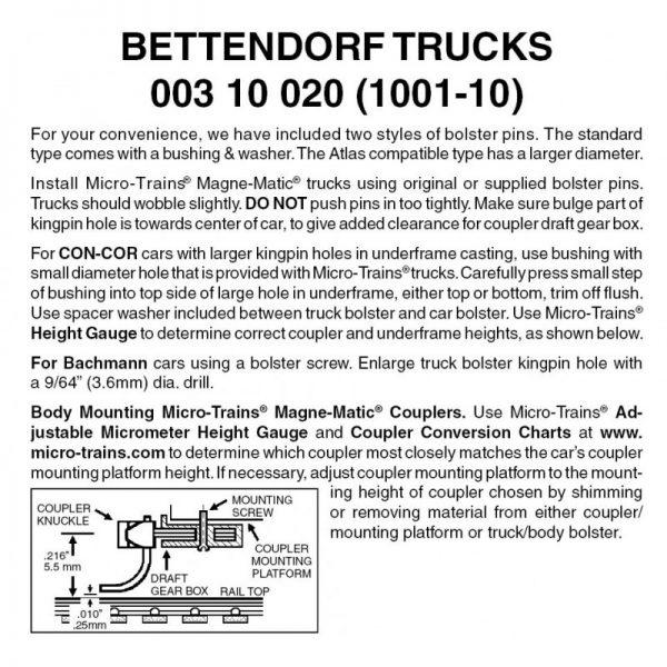 Micro Trains 00310020   N Bettendorf Trucks w/o couplers (10 pr)