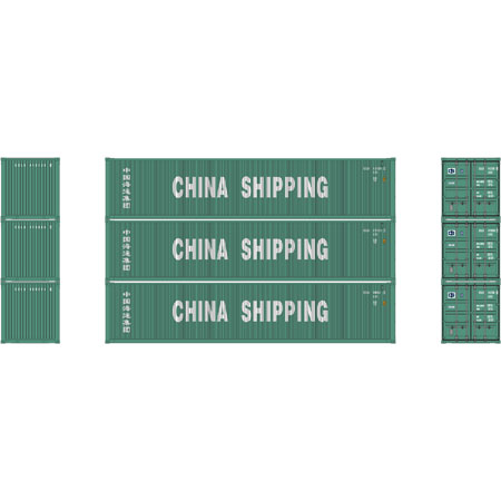 Athearn 17636  40' High-Cube Container, China Shipping  (3 Pack)