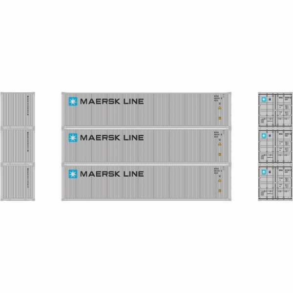Athearn 17638  40' High-Cube Container, Maersk  (3 Pack)